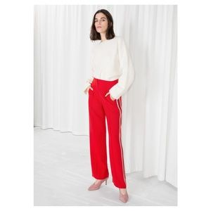 & Other Things Red Racer Stripe Trousers